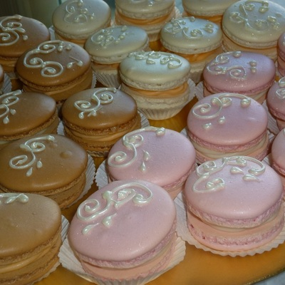 French Macarons Decorated W White Chocolate