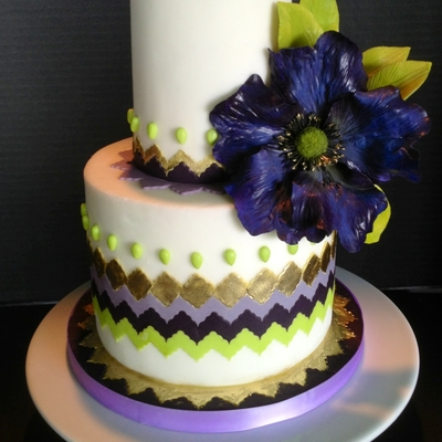 Purple Gold And Green Chevron Cake With Purple Fantasy Flower