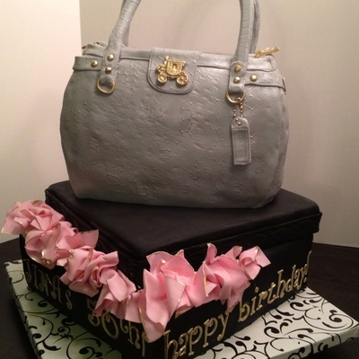 Coach Purse Cake With Gift Box