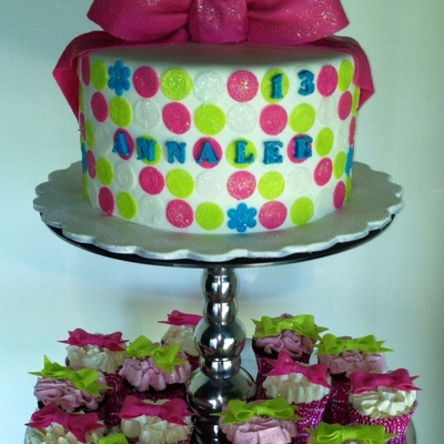 Pink And Green Polka Dots Bows And Sparkle For Annalees 13Th Birthday