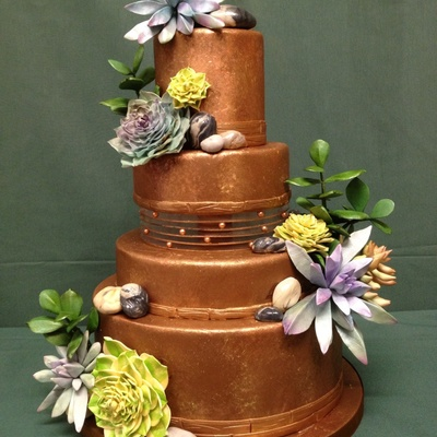 Chocolate Wedding Cake With Succulents And Stones