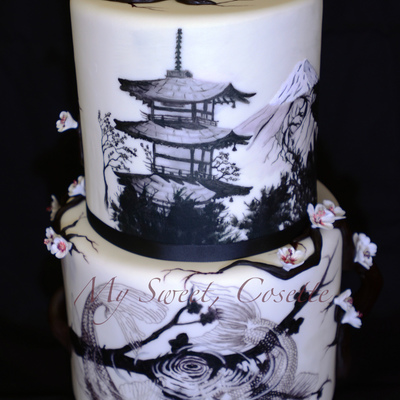 Japanese Theme Wedding Cake