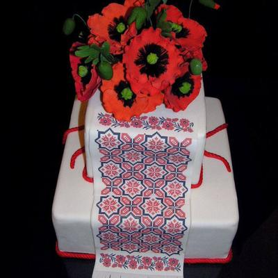 Red Poppy Square Cake.