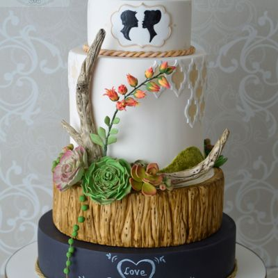Wedding Cake Inspired By Driftwood,chalkboard & Succulents.