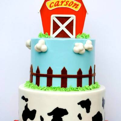 Barnyard First Birthday Cake