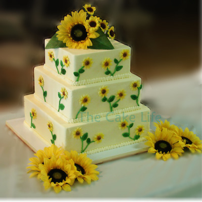 Square Sunflower Themed Wedding Cake