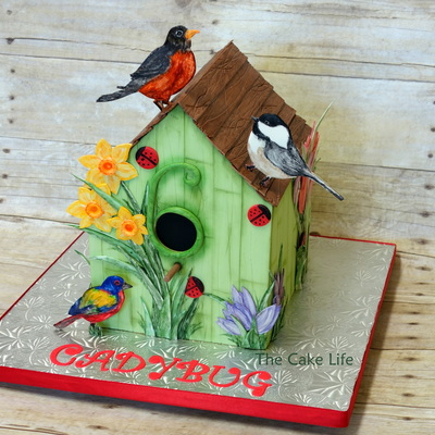 Bird House Cake With Hand Painted Birds And Flowers