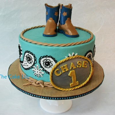 Cowboy Themed 1St Birthday Cake With Fondant Belt Buckle And Fondant Cowboy Boots