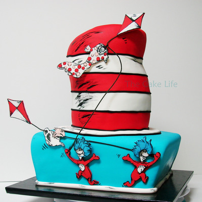 Dr Suess Thing 1 And Thing 2 Baby Shower Cake