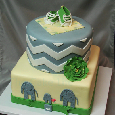 Green Yellow And Gray Chevron Baby Shower Cake With Fondant Chuck Taylors And Elephants