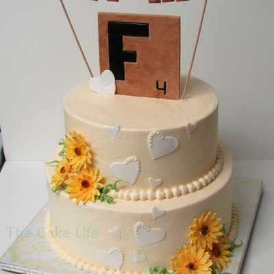 Scrabble Themed Wedding Shower Cake With Gumpaste Daisies