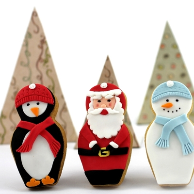 Penguin, Santa And Snowman Nesting Doll Christmas Cookies