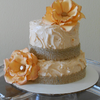 Orange Cranberry Cake Burlap Orange Swiss Meringue Buttercream Sugar Flowers on Cake Central