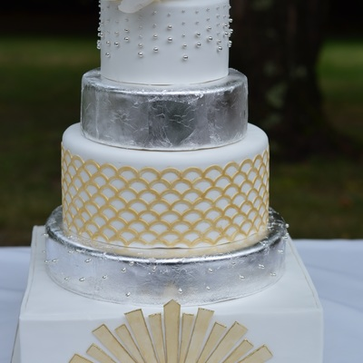 Great Gatsby Wedding Cake With Sugar Magnolia And Edible Silver Leaf
