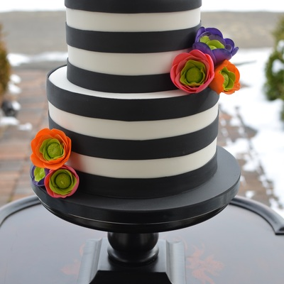 Black And White Striped Cake With Brightly Colored Sugar Flowers on Cake Central