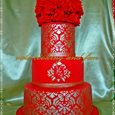 My First 3 Tier Cake In Red And Gold