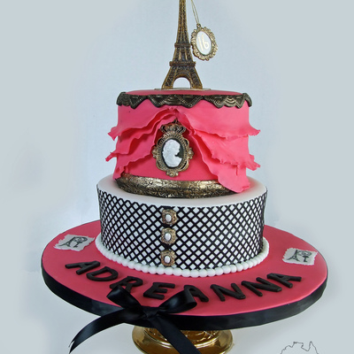 Sweet 16 Paris Theme Birthday Cake