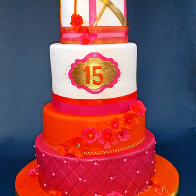 Orange,pink And Gold Quinceanera Cake