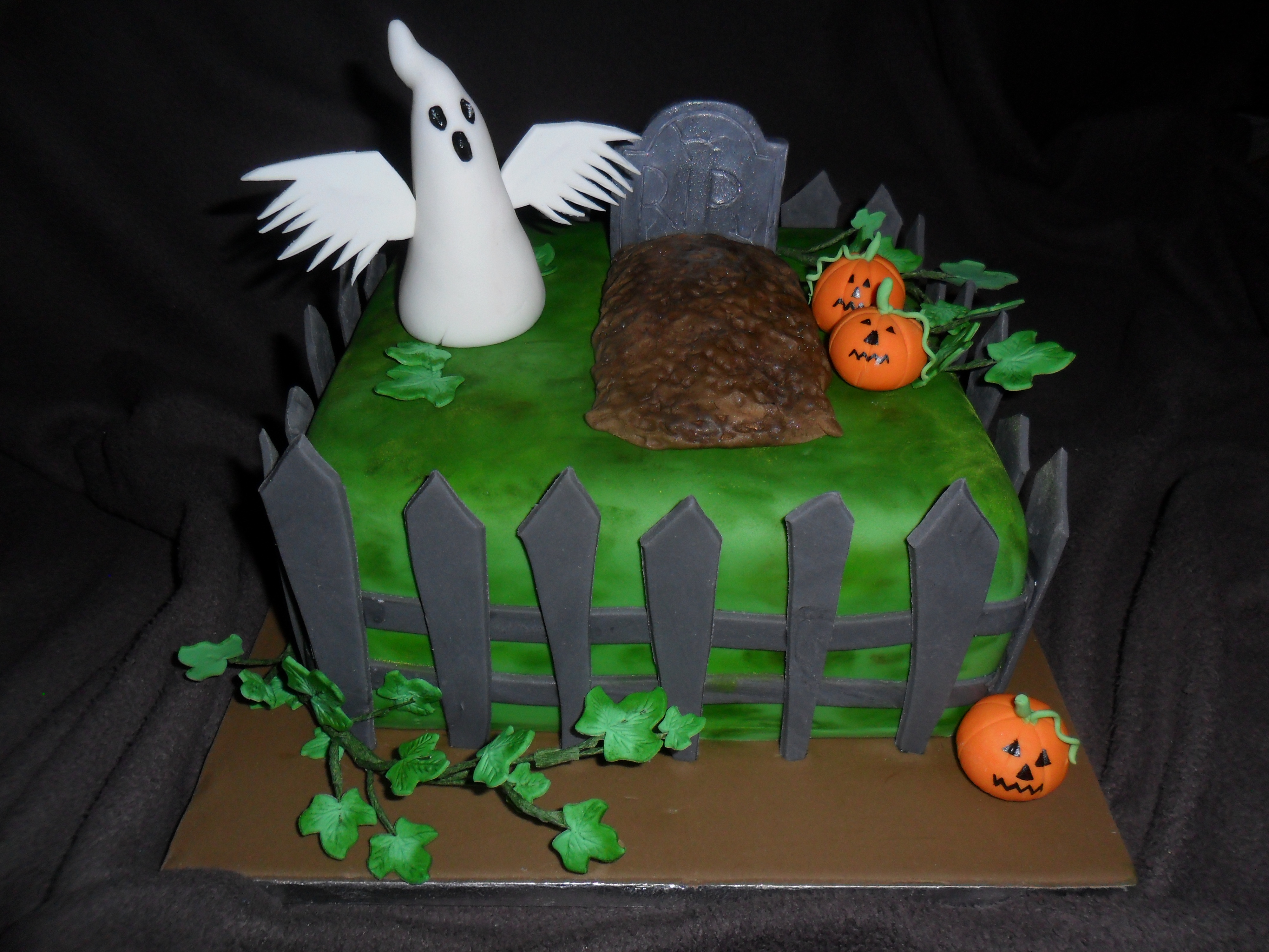 Halloween Graveyard And Edible Ghost Birthday Cake