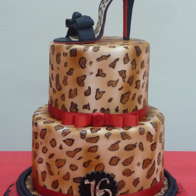 Hand Painted Leopard Print Cake With High Heel And Ruffles