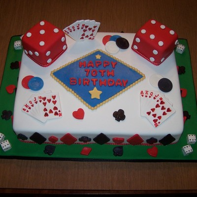Gamblingcasino 70Th Birthday Cake Almond Cake With American Buttercream Large Dice Almond Cake With Buttercream And Fondant All Decor