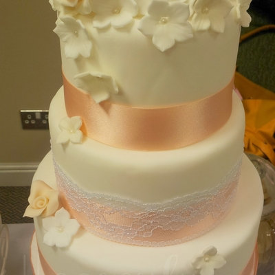 3Tier Peach And Lace Wedding Cake