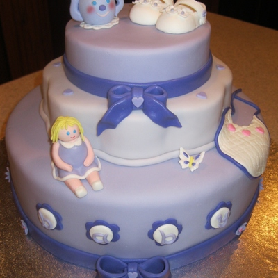 Shower Cake For Baby Girl With Fondant Embellishments