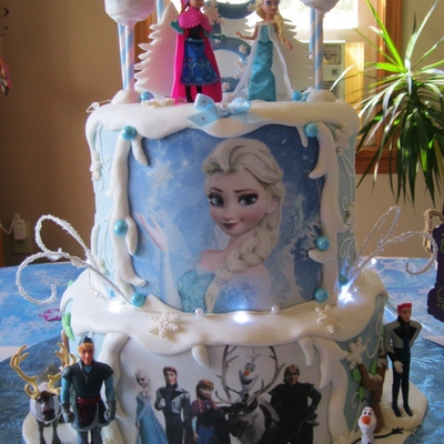 Frozen Themed Cake For My Grandaughter Complete With Cakepops Elsa Swirls Sparkly Trees And Lights Characters Are Toys