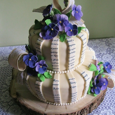 Bridal Shower Cake With Gumpaste Pansies Verses Printed On Sugar Paper Then Cut To Fit The Stripes
