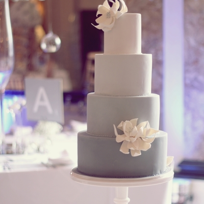Ombre Grey Cake And Structural Flowers