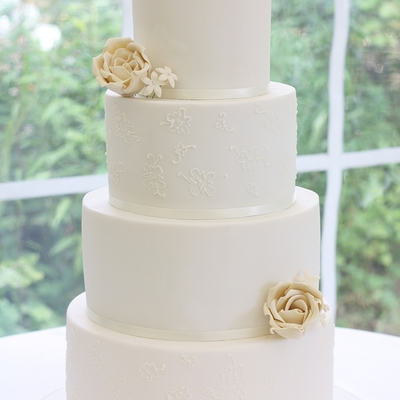 White Lace Piping And Ivory Roses
