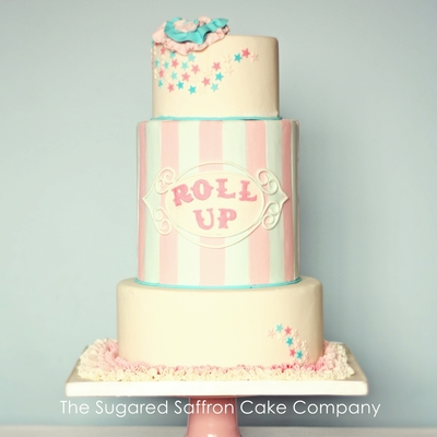 Funfair/fairground/circus Themed Pale Pink And Blue Wedding Cake