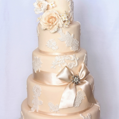 5 Tier Cream Cake With Ivory Lace Applique