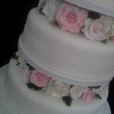 4 Tier 'rose' Wedding Cake With Personalised Topper.