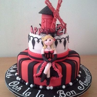 Parisian Themed 21Sy Birthday Cake Moulin Rouge Gum Paste Figure Gum Paste Windmill