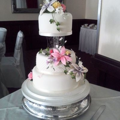Beautiful Sugar Paste Summer Flowers On This 3 Tier Wedding Cake