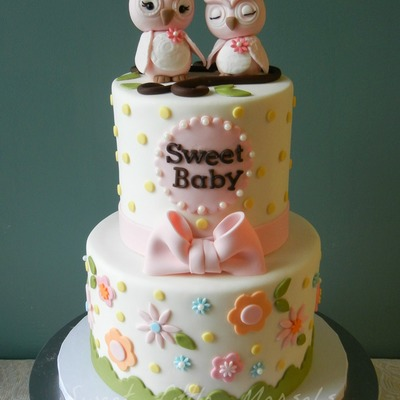 Sweet Mommy And Baby Owl Shower Cake