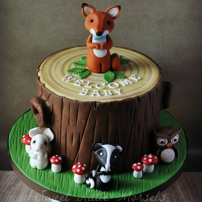 Woodland Theme Baby Shower Cake