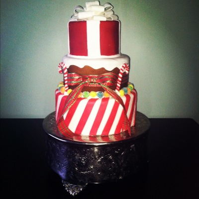 Christmas Cake Peppermint Stripe Bottom Tier Ginger Bread Middle Tier And A Present For The Top Tier