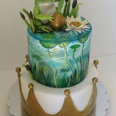 Frog Prince First Birthday Cake Hand Painted Top Tier Fondant Crown On Bottom Tier And Hand Made Modeling Chocolate Cake Topper