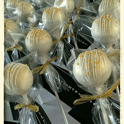 Gold With White Cake Pops