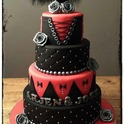 Black Red And Silver Wedding Cake