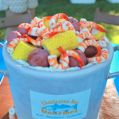 Lowcountry Boil This Is A Double Barrel 9 White Cake With Chocolate Ganache All Items Including Shrimp Corn On The Cob Amp New Pot