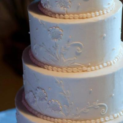 This Cake Was Inspired By The Brides Antique Veil From The 1800S The Cake Is Frosted With Buttercream The Lace Is Hand Piped With Butt