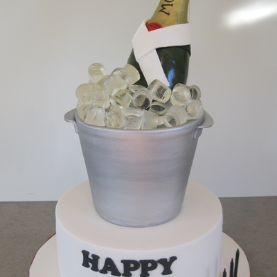 Champagne Bottle And Ice Bucket For A 21St Birthday The Bottle Is Made From Chocolate Then Covered With Fondant First Time Playing With Is...