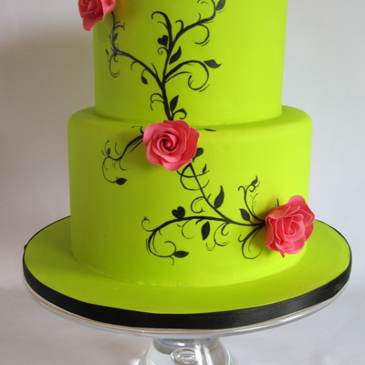 Lime Green Wedding Cake With Handpainting.