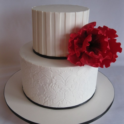 White On White Cake With Red Flower