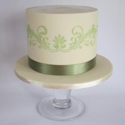 A Simple Small Birthday Cake In Cream And Avacado Colours
