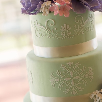 Mint Fondant With Stenciling And Sugar Flowers
