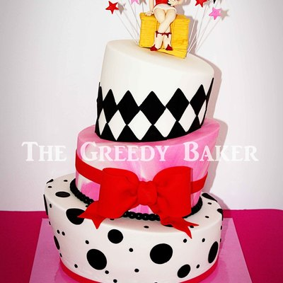 Based On A Pink Cake Box Design With A Topper Suited To The Party Invitation